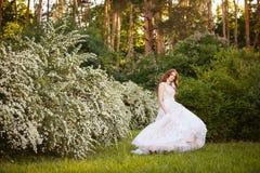 意想不到的婚礼礼服的美丽的红头发人新娘在开花的庭院里 免版税图库摄影