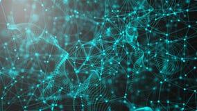 意想不到的抽象技术,空间与可以连接的小点和线,连接结构背景,3d翻译 股票录像