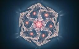 意想不到的水晶的例证在包括银色颜色的许多面孔与一个星的兰色薄雾背景的在 向量例证