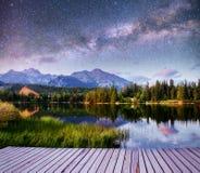 意想不到的满天星斗的天空和银河在一个湖在公园高Tatras Shtrbske Pleso,斯洛伐克,欧洲 免版税图库摄影