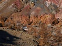 意想不到的火星的风景 一个女孩的一个小剪影反对巨大的山背景的  免版税图库摄影