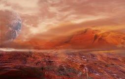 意想不到的火星的风景 毁损行星 免版税库存照片