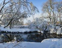 意想不到的美妙的冷淡的冬天风景 免版税库存图片
