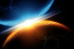 意想不到的背景燃烧的和爆炸的行星地球,地狱,小行星冲击,发光的天际 免版税库存照片