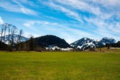 意想不到的草甸和山在春天-德国 免版税图库摄影