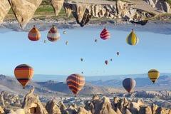 意想不到的虚幻的完全颠倒的风景在卡帕多细亚, Tur 免版税库存照片