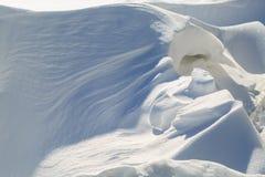 意想不到的随风飘飞的雪在一个冬天晴天 免版税库存照片