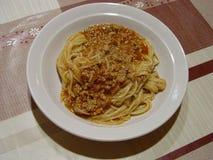 意粉博洛涅塞,在板材的最佳的意大利食物 库存图片