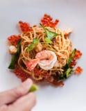 意粉汤姆Kung,融合意大利食物,面团 库存照片