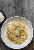意粉用Pecorino乳酪和胡椒 免版税库存图片