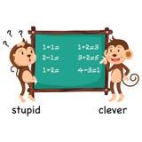 愚笨相反的词和聪明的传染媒介 库存例证