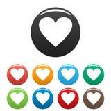 愚钝的心脏象被设置的颜色 库存例证