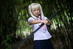 感伤女孩的武士 图库摄影