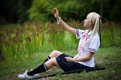 感伤女孩的武士 免版税库存照片