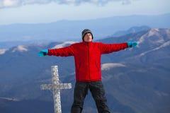 感到的远足者好在远征时 免版税图库摄影