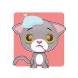 感到逗人喜爱的灰色的猫恶心 库存照片