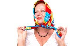 感到骄傲为我五颜六色的围巾 库存照片