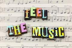 感受音乐音乐板料爱活生活享用喜悦印刷术字体 免版税图库摄影