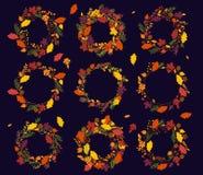 感恩、秋天或者秋天主题的花圈的传染媒介汇集 皇族释放例证