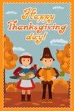 感恩与祝贺孩子南瓜和火鸡的天卡片导航例证 免版税图库摄影