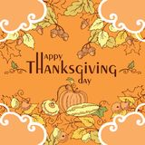 感恩与秋叶、蔬菜和水果的天海报 免版税图库摄影