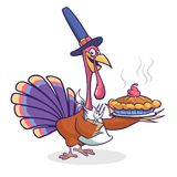 感恩动画片土耳其被隔绝的鸟拿着叉子的和饼 导航滑稽的火鸡字符佩带的香客帽子的例证 免版税库存图片