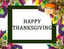 感恩卡片用南瓜和五颜六色的秋叶 库存图片