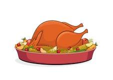 感恩吃饭的客人、烘烤土耳其用水果和蔬菜 免版税库存照片