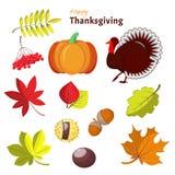 感恩和秋天装饰元素 免版税库存图片