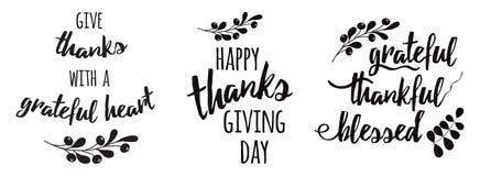 感恩固定词组感恩的感激的保佑的文本花卉黑秋天分支黑色 皇族释放例证