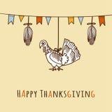 感恩天卡片、邀请用玉米,火鸡和旗子, 免版税图库摄影