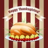 感恩天油煎的火鸡的标志 免版税库存图片