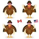 感恩天被设置的土耳其字符 免版税库存照片