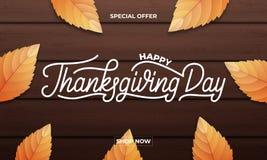 感恩天销售 感恩销售、促进等等的横幅设计 感恩天字法,秋天叶子和 库存照片