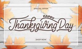 感恩天销售 感恩销售、促进等等的横幅设计 感恩天字法,秋天叶子和 免版税库存图片