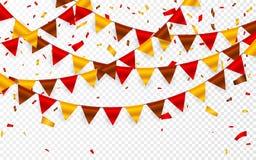 感恩天,在透明背景的旗子诗歌选 红褐色的黄旗和箔五彩纸屑诗歌选  传染媒介illustrati 向量例证