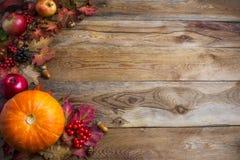 感恩或秋天问候背景用橙色南瓜a 免版税库存照片
