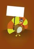 感恩拿着标志的土耳其 免版税库存图片