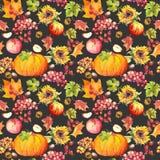 感恩无缝的背景 果子,菜-南瓜,秋叶 水彩 免版税库存照片
