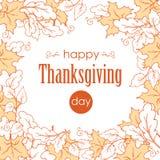 感恩日 与叶子的典雅的横幅 缠绕与秋天礼物在白色背景,概述的 免版税库存图片