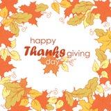 感恩日 与秋叶的横幅在白色背景 图库摄影