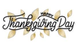感恩日 愉快的感恩天手字法和陆军少校的肩章 字法横幅为感恩天 免版税库存照片