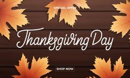 感恩日 感恩销售、促进等等的横幅设计 感恩天字法,秋天叶子和 免版税库存照片