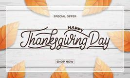 感恩日 感恩销售、促进等等的横幅设计 感恩天字法,秋天叶子和 库存照片