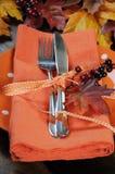 感恩桌餐位餐具特写镜头 免版税库存照片