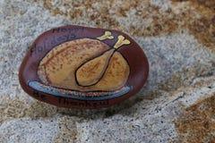 感恩火鸡被绘的岩石 免版税库存照片
