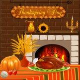 感恩的卡片用火鸡和菜壁炉 库存图片