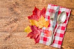 感恩秋天餐位餐具 库存照片