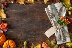 感恩秋天餐位餐具 库存图片