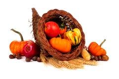 感恩聚宝盆用在白色和金瓜隔绝的南瓜、苹果 免版税图库摄影